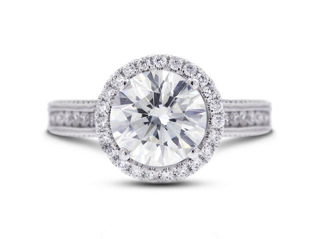 4.42 Carat Ideal Cut Round D-SI1 Diamond 18k White Gold Micro Pave Engagement Ring 5.74gm