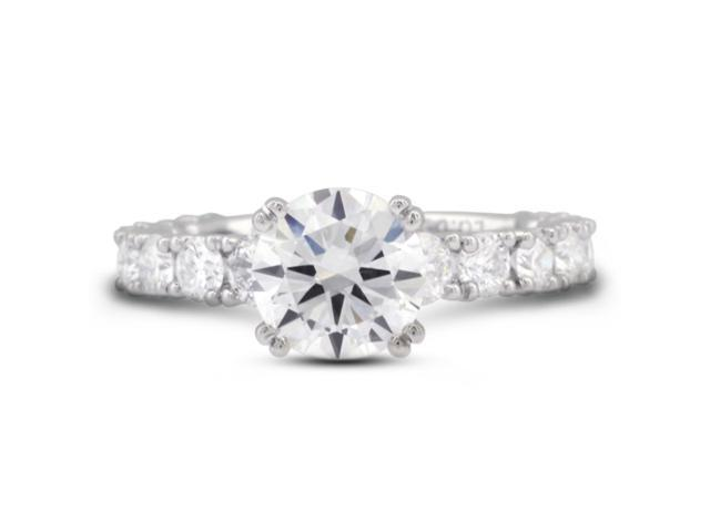 3.32 Carat Ideal Cut Round H-VS1 Diamond 18k White Gold Prong Engagement Ring 3.50gm