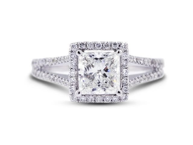 3.15 Carat Excellent Cut Princess J-SI1 Diamond 18k White Gold Micro Pave Engagement Ring 4.17gm