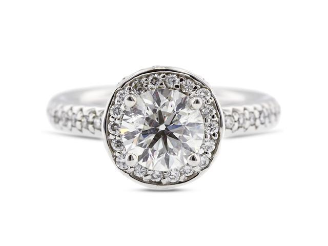 2.53 Carat Excellent Cut Round D-SI2 Diamond 14k White Gold Pave Engagement Ring 6.19gm