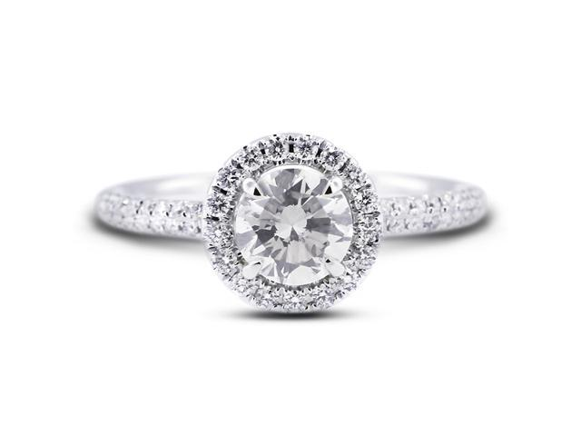 1.14 Carat Excellent Cut Round I-SI1 Diamond 18k White Gold Micro Pave Engagement Ring 3.58gm