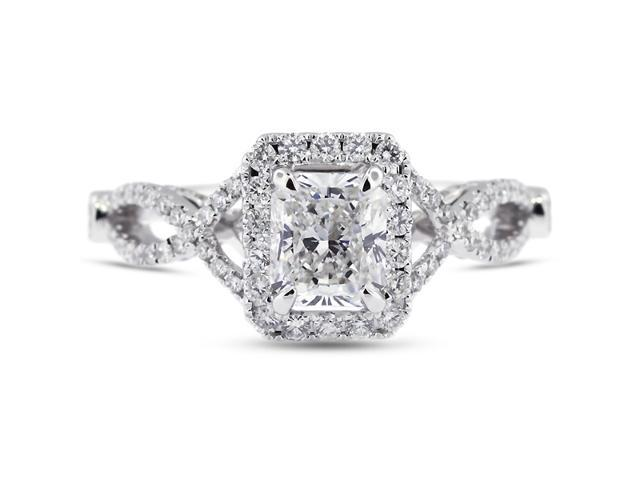 2.32 Carat Excellent Cut Radiant G-SI2 Diamond 18k White Gold Micro Pave Engagement Ring 3.74gm