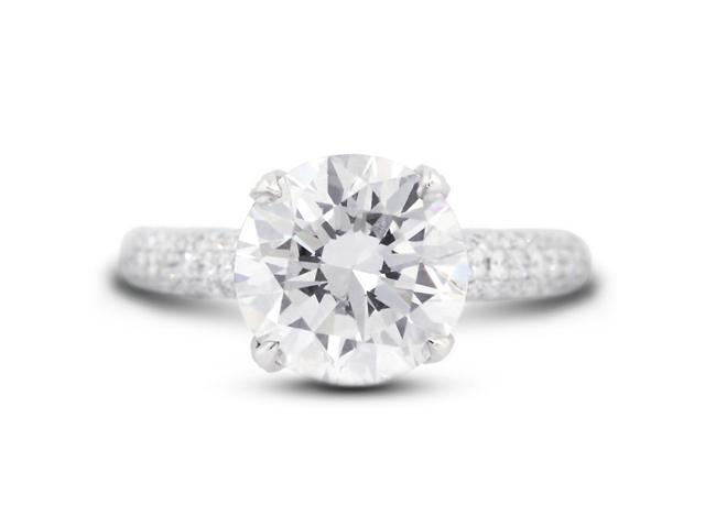 3.72 Carat Excellent Cut Round I-SI2 Diamond 18k White Gold Micro Pave Engagement Ring 5.79gm