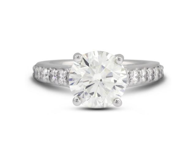 3.53 Carat Ideal Cut Round H-SI1 Diamond 14k White Gold Prong Engagement Ring 7.20gm