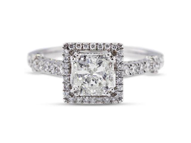 2.96 Carat Ideal Cut Princess H-SI1 Diamond 18k White Gold Micro Pave Engagement Ring 3.90gm