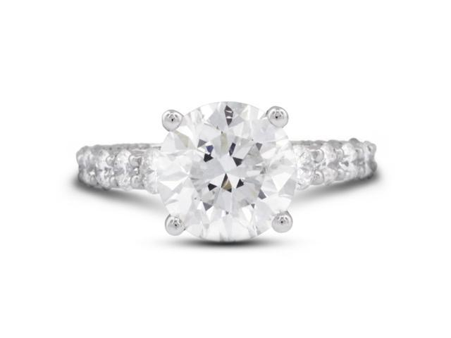 5.42 Carat Excellent Cut Round F-SI2 Diamond 18k White Gold Prong & Micro Pave Engagement Ring 5.41gm