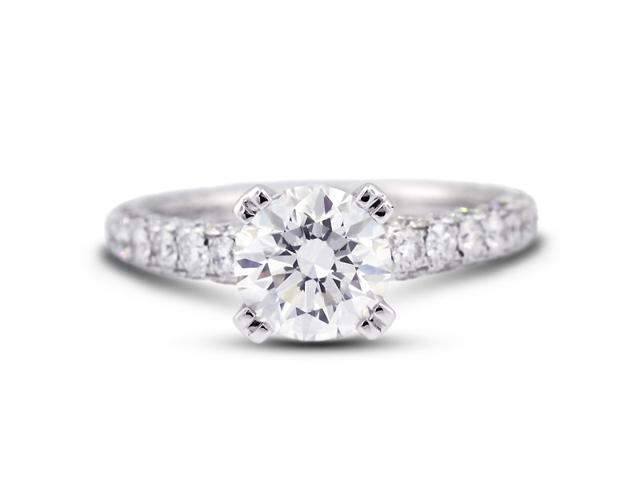 3.69 Carat Excellent Cut Round E-SI1 Diamond 18k White Gold Micro Pave Engagement Ring 3.97gm