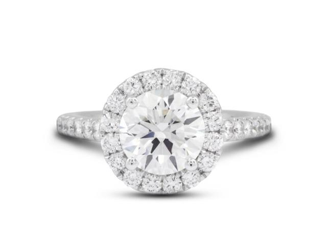 3.09 Carat Ideal Cut Round G-SI1 Diamond 18k White Gold Micro Pave Engagement Ring 6.26gm