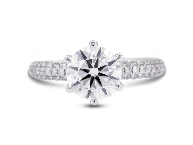 1.73 Carat Ideal Cut Round F-VS2 Diamond 18k White Gold Micro Pave Engagement Ring 4.15gm