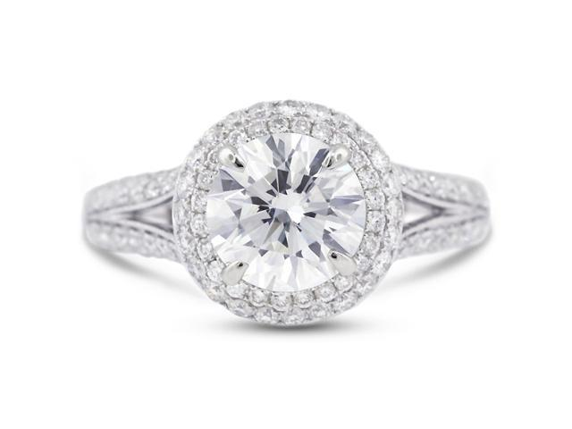 2.89 Carat Ideal Cut Round H-SI1 Diamond 18k White Gold Micro Pave Engagement Ring 5.34gm