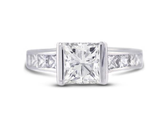 3.07 Carat Excellent Cut Princess E-SI2 Diamond 14k White Gold Channel Engagement Ring 4.52gm