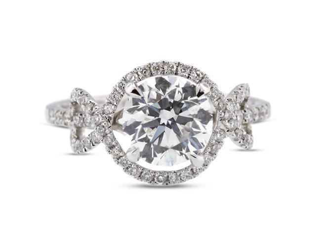2.20 Carat Ideal Cut Round J-SI2 Diamond 18k White Gold Micro Pave Engagement Ring 3.61gm