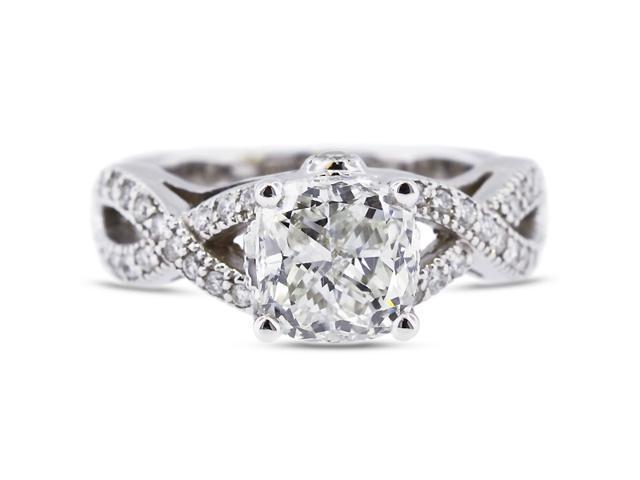 2.29 Carat Excellent Cut Radiant E-VS2 Diamond 14k White Gold Pave Engagement Ring 7.85gm
