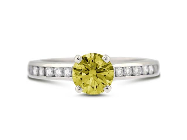 2.47 Carat Ideal Cut Round Yellow Diamond 14k White Gold Channel Engagement Ring 3.54gm
