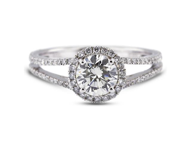 1.71 Carat Excellent Cut Round F-VS2 Diamond 18k White Gold Micro Pave Engagement Ring 3.13gm