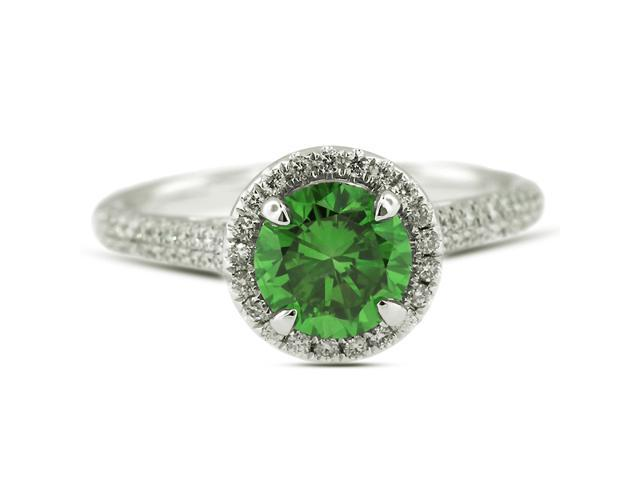 0.98 Carat Ideal Cut Round Green-SI1 Diamond 18k White Gold Micro Pave Engagement Ring 4.20gm