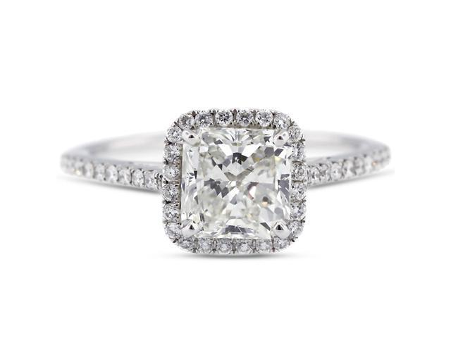 1.32 Carat Excellent Cut Radiant I-VS2 Diamond 18k White Gold Micro Pave Engagement Ring 2.84gm