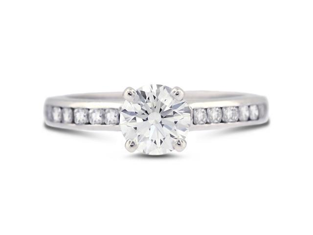2.19 Carat Ideal Cut Round H-VS2 Diamond 14k White Gold Channel Engagement Ring 3.54gm