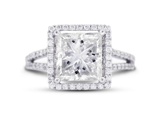 4.26 Carat Excellent Cut Princess I-SI1 Diamond 18k White Gold Micro Pave Engagement Ring 4.85gm