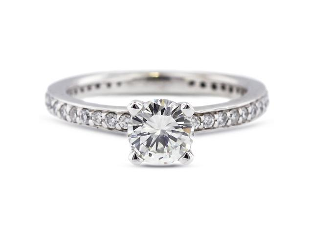 2.60 Carat Excellent Cut Round F-SI2 Diamond 14k White Gold Pave Engagement Ring 3.65gm