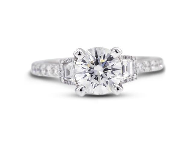 1.80 Carat Excellent Cut Round H-SI2 Diamond 18k White Gold Micro Pave Engagement Ring 4.08gm