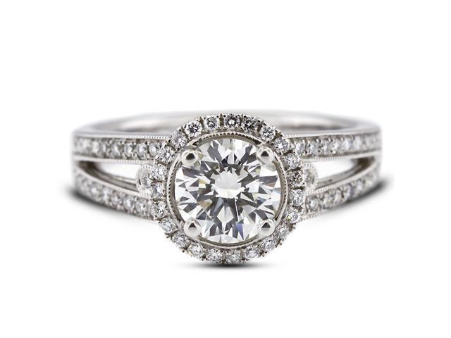 1.62 Carat Excellent Cut Round F-VS2 Diamond 18k White Gold Micro Pave Engagement Ring 5.80gm