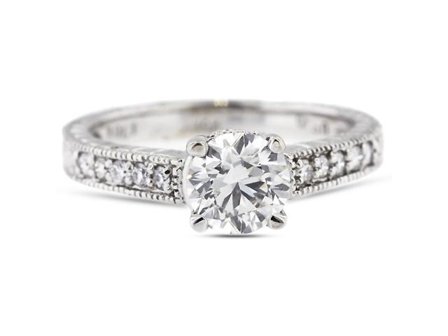 2.29 Carat Excellent Cut Round F-VS2 Diamond 14k White Gold Pave Engagement Ring 3.88gm