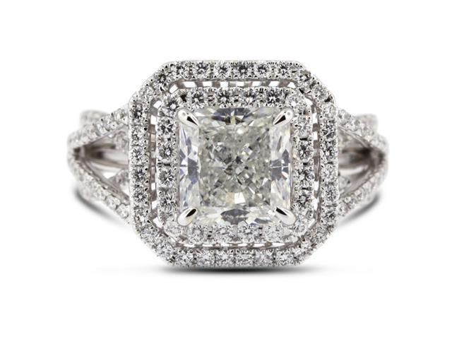 3.16 Carat Ideal Cut Radiant E-SI2 Diamond 18k White Gold Micro Pave Engagement Ring 7.96gm