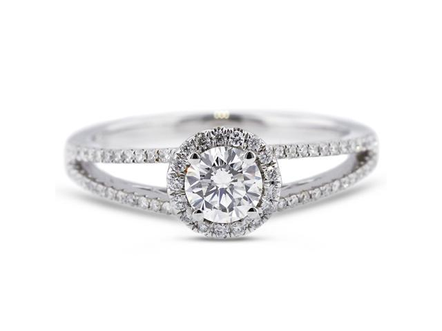1.17 Carat Excellent Cut Round G-SI2 Diamond 18k White Gold Micro Pave Engagement Ring 3.30gm