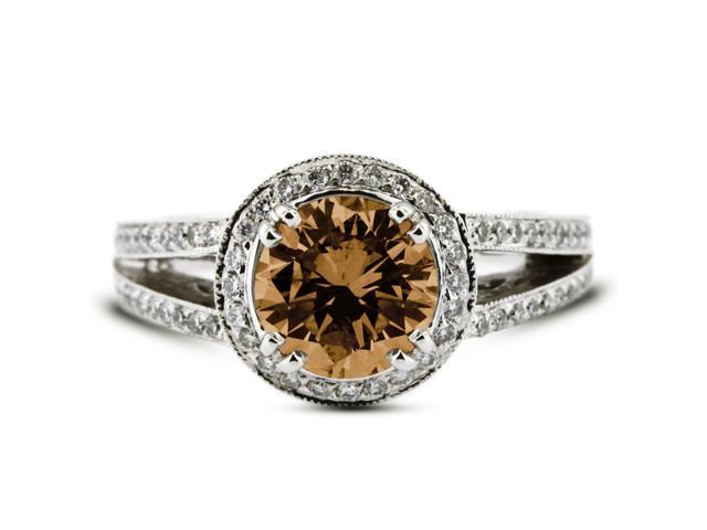2.06 Carat Ideal Cut Round Brown-SI1 Diamond 14k White Gold Pave Engagement Ring 6.50gm