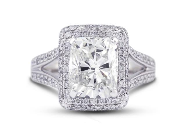 5.08 Carat Excellent Cut Cushion G-SI2 Diamond 18k White Gold Micro Pave Engagement Ring 8.23gm