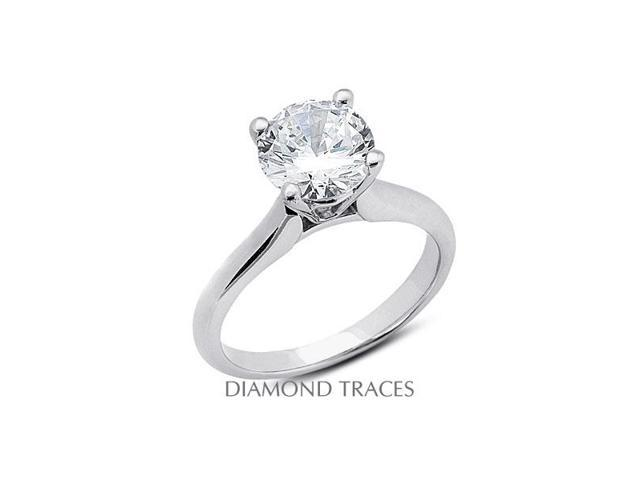 1.84 Carat F-I1 Very Good Round Natural Diamond 14K Yellow Gold Cathedral Solitaire Ring