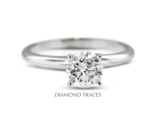 1.46 Carat F-VS2 Excellent Round Natural Diamond 14K White Gold Classic Solitaire Ring