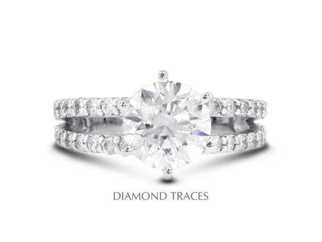 1.18 Carat H-I1 Excellent Round Natural Diamond 14K White Gold Split Shank Engagement Ring