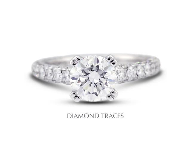 3.24 Carat F-SI2 Excellent Round Natural Diamond 18K White Gold Three-Pave Rows Engagement Ring