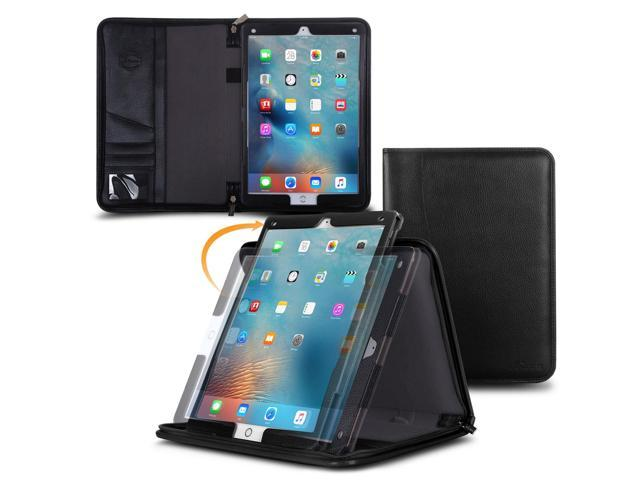 iPad Pro Case - roocase Executive Portfolio iPad Pro 2015 Genuine Leather Case Cover with Stylus for Apple iPad Pro 12.9-inch Tablet (2015) All-new iPad, Black
