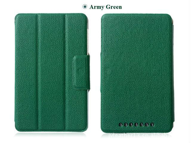 Hard Case PU Folio Leather Stand Magnetic Cover For Google Nexus 7 1st gen Army Green