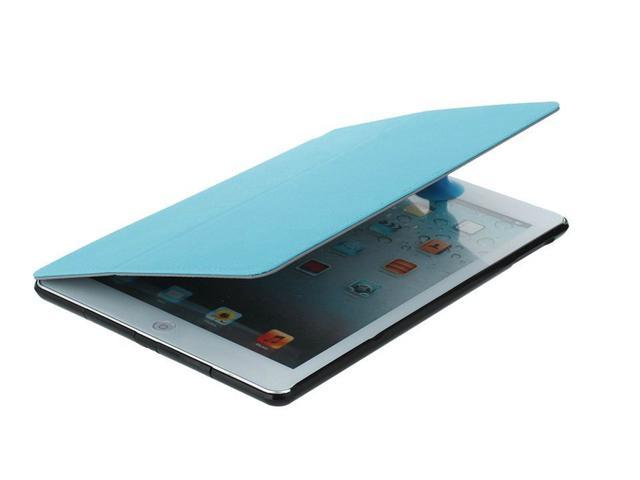 High Quality Fashion Multi-function Hand Strap Leather Stand Hard Case Cover + Fim & Stylus For iPad Air 5th Light Blue