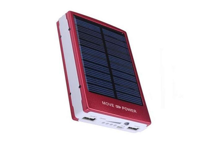 New 10000mAh Solar Power Bank Battery Charger for Mobile Cell Phone Black