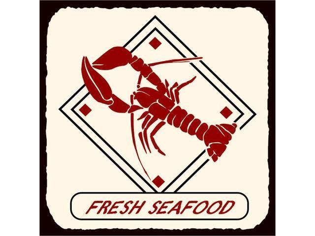 Fresh Seafood Diamond Vintage Metal Art Beach Seafood Tin ...