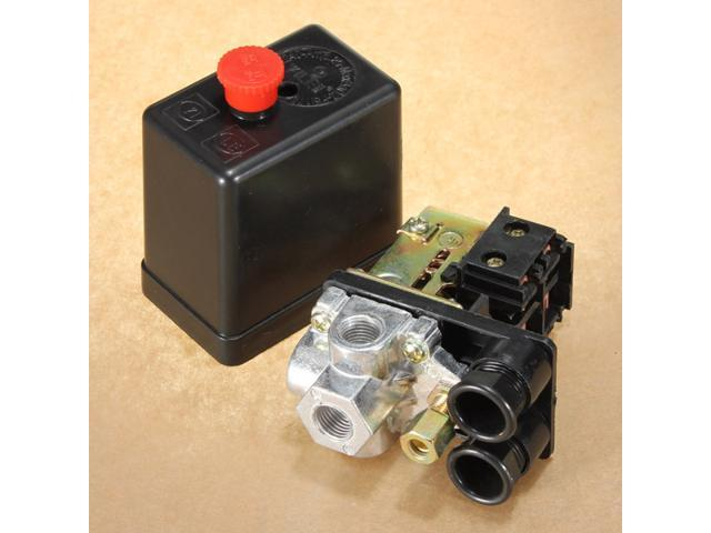 240V 20A Heavy Duty Air Compressor Pressure Switch Control Valve 90-120PST 4 Port