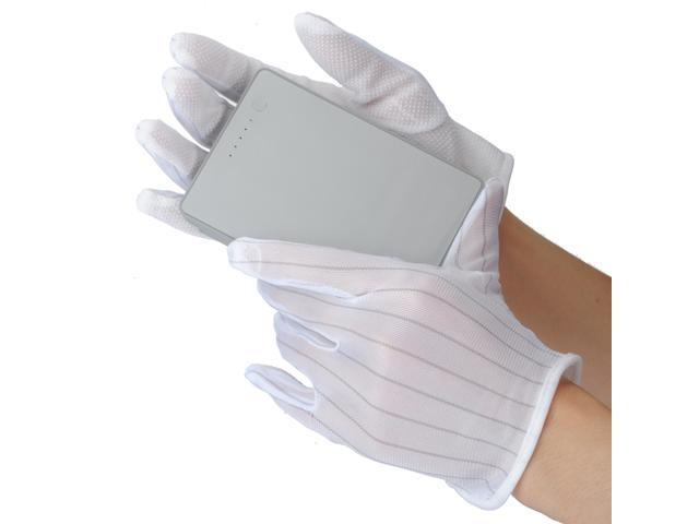 1 Pair ESD Antiskid Anti-skid Anti-static Gloves for PC Computer PCB Electronic Working Work White