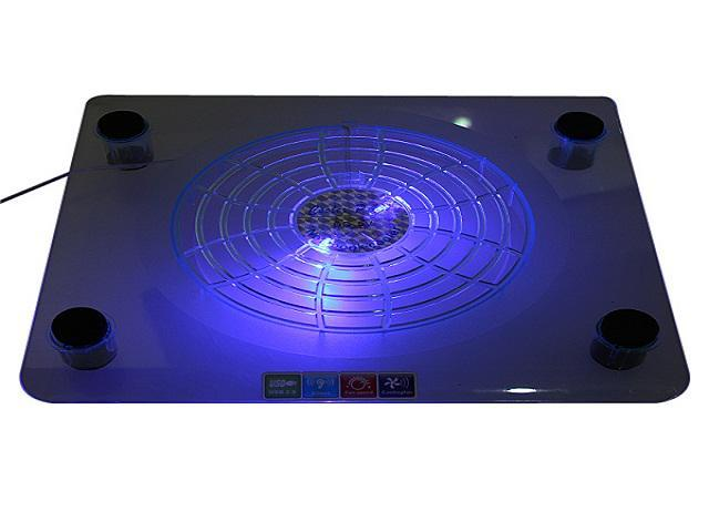 "USB Big Fan Blue LED Cooling Cooler Pad For 14.1-15.4"" Notebook Laptop PC Silent"