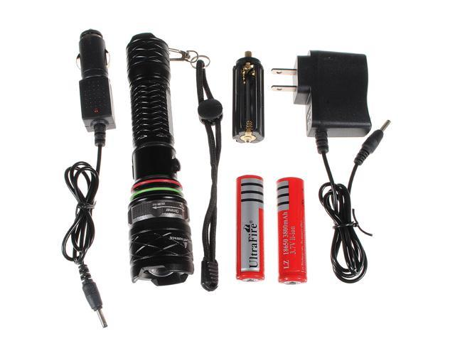 New 2000LM CREE XM-L T6 LED Rechargeable Zoom Mode 5  Flashlight Torch Lamp 2 X 18650 Battery Charger