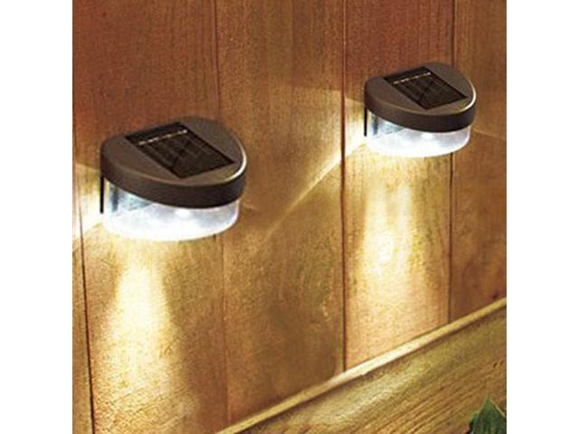 2pcs Solar Power 2 LED Path Light Lighting Wall Outdoor Landscape Stairway Mount Garden Fence Lamp
