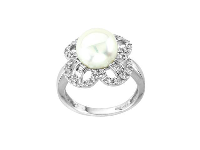 Flower Shape Cultured Pearl Diamond Engagement Ring 0 37 Carat White Gold N