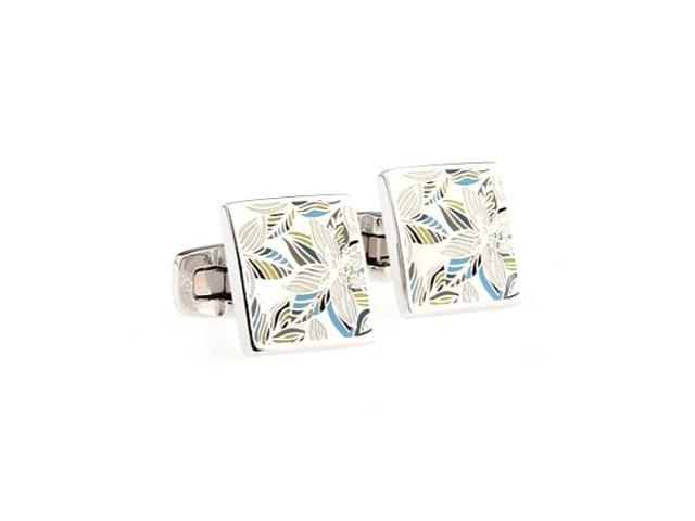 stainless steel colorful leaf Cufflinks Cuff link with Gift Box