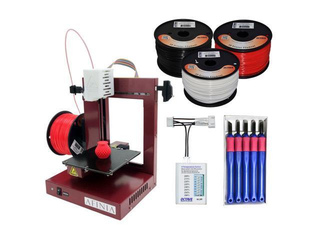 Afinia 3D Printer Bundle #2 - (H-480 3D Printer + 3D Printer knife set + Extruder Nozzle Temperature Switch + Octave ABS 1.75mm Filament 3 spools)