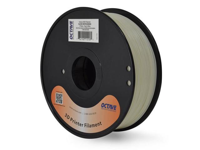 Octave 1.75mm White / Green GLOW IN THE DARK 3D Printer ABS Filament 1kg (2.2lbs) Spool