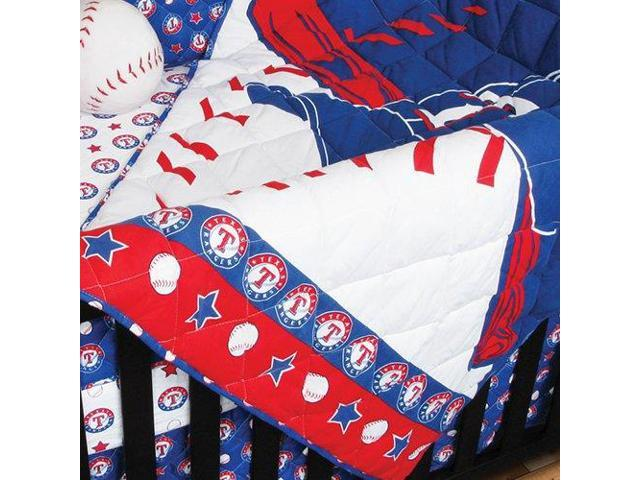 MLB Texas Rangers 4pc Baseball Crib Bedding Set
